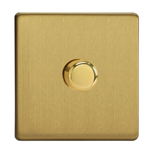 Varilight JDBP401S Screwless Brushed Brass 1 Gang 2-Way Push-On/Off LED Dimmer 0-120W V-Pro